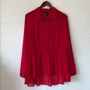 Torrid Red Sheer Lace Back Babydoll Blouse 1X